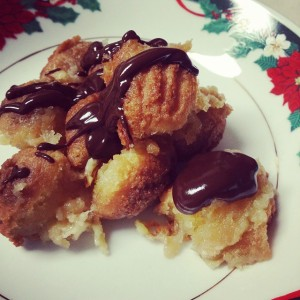Doughnut Bread Pudding with Chocolate Sauce